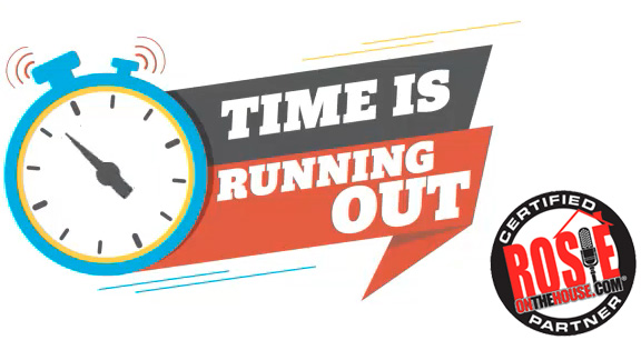 time is running out clock with ROTH logo